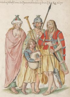 Irish as they stand accoutred being at the service of the late King Henry, by Lucas d'Heere, about 1575