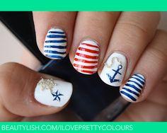 Nautical Nails   Stefi J.'s (iloveprettycolours) Photo   Beautylish