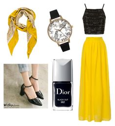 """Having a Hufflepuff time"" by emilydavis-iv ❤ liked on Polyvore featuring Topshop, Wifky, Loro Piana, Christian Dior and Olivia Burton"