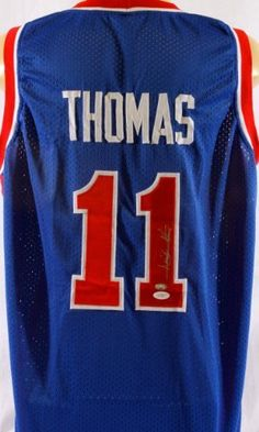 Isiah Thomas Autographed Detroit Pistons Jersey - JSA Certified - Autographed NBA Jerseys by Sports Memorabilia. $181.41. Isiah Thomas Signed Pistons Jersey - JSA. Sports memorabilia collectors have seen similar items increase in value over time. Sports memorabilia collectors love stats, and Thomas's can't be beat. A+ quality autograph. This is a rare piece and comes with Sportsmemorabilia s tamper-proof numbered hologram. All items sold by Sportsmemorabilia are guarante...
