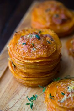 Herb & Coconut Oil Sweet Potato Stacks, a healthy and super simple gluten-free holiday side dish!