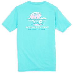 Ladies The Sea Will Set You Free Tee in Crystal Blue by Southern Tide ($38) ❤ liked on Polyvore featuring tops, t-shirts, southern tide t shirts, blue t shirt, blue top, blue tee and southern tide