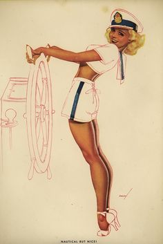 George Petty 'Nautical But Nice' George Petty was an American pin-up artist whose art appeared primarily in ESQUIRE and Fawcett Publications's TRUE but was also in calendars marketed by ESQUIRE, TRUE, and Ridgid Tool Company. Pin Up Girl Tattoo, Pin Up Tattoos, Pin Up Illustration, Illustrations, Dibujos Pin Up, Arte Sci Fi, Pin Up Drawings, Vargas Girls, Pin Up Poses