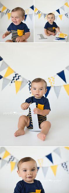 Baby Boy Cake Smash   Yellow and Blue   Sunshine Party