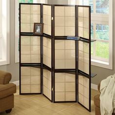 Cappuccino Wood Framed 3-panel Room Divider with Shelves  http://www.overstock.com/Home-Garden/Cappuccino-Wood-Framed-3-panel-Room-Divider-with-Shelves/6234455/product.html