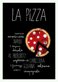 La Pizza Kitchen art print italian food poster by ShufflePrints Kitchen Prints, Kitchen Wall Art, Menu Design, Food Design, Deco Pizzeria, Pizza Kunst, Decoration Restaurant, Pizza Kitchen, Food Cartoon