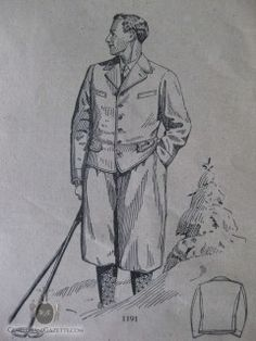 "1928 fashion illustration of a ""Winter Hiking Knickerbocker Suit"""