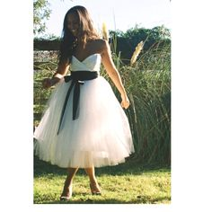 tulle with black velvet ribbon #weddingdress #tulle #short #ido #fashion