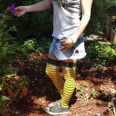 "Mini ""photo shoot w/my mom so I can show off my @fbforiginals thigh high A's #socks! #OaklandSockSwag #OaklandAsSocksGirl"