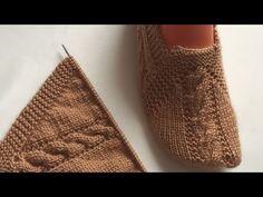 Kelebek patik modeli iki şiş kolay patik - YouTube Knitted Slippers, Baby Boots, Tunisian Crochet, Knit Crochet, Crochet Shoes, Knitting Socks, Baby Dress, Blouse Designs, Knitting Patterns