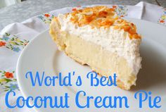 The World's Best Coconut Cream Pie Recipe Ever. A heavenly, perfect, not too sweet, not stringy, hands down the most delicious coconut cream pie on earth. Coconut Desserts, Coconut Recipes, Just Desserts, Baking Recipes, Delicious Desserts, Best Coconut Pie Recipe, Pie Dessert, Dessert Recipes, Best Coconut Cream Pie