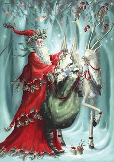 Fantastic elfen Santa and reindeer Christmas Fairy, Christmas Scenes, Father Christmas, Christmas Pictures, Winter Christmas, Celtic Christmas, Christmas Artwork, Santa Pictures, Christmas Morning