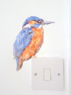 Kingfisher bird decal watercolour wall sticker by SmockBallpoint