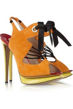 Nicholas Kirkwood  Suede and elaphe slingback sandals