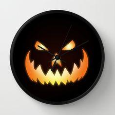 Cool Scary Orange Jack O'Lantern face Halloween Wall Clock by Nicklas Gustafsson   Society6