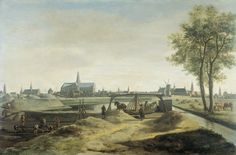 The construction of new fortifications for Haarlem, with the background of the St. Bavo church,