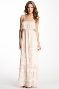 Maddie Silk Tiered Embroidered Dress--would be really cute maternity dress