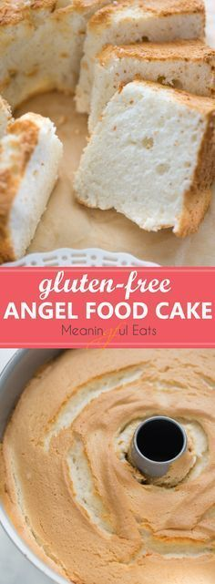 The BEST-tasting angel food cake you'll ever eat via Gluten-Free Angel Food Cake! The BEST-tasting angel food cake you'll ever eat via Gluten Free Angel Food Cake, Gluten Free Deserts, Gluten Free Sweets, Gluten Free Cakes, Foods With Gluten, Gluten Free Cooking, Dairy Free Recipes, Vegan Gluten Free, Paleo