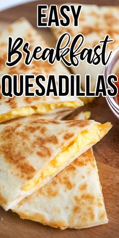Flour tortillas are filled with fluffy scrambled eggs & melted cheese for an amazing quick & easy breakfast meal! and easy breakfast BREAKFAST QUESADILLAS Breakfast Tortilla, Easy Egg Breakfast, Savory Breakfast, Breakfast Dishes, Breakfast For Kids, Breakfast Recipes, Breakfast Quesadilla, Quesadilla Recipes, Quick Breakfast Ideas