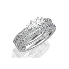 1.67 CaratPrincess Cut DiamondAntique Three Stone Wedding Ring Set on 14K White Gold FineTresor. $9865.77. Metal: 14 K White Gold. Diamond Clarity: I1-I2. Center Diamond Cut: Princess. Center Dimond Carat Weight: 1.00. Diamond Color: I-J