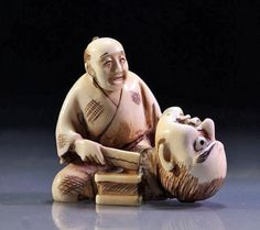 Signed Japanese Carved Ivory Netsuke - Artist At Work