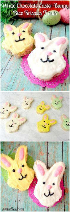 If you are looking for a fun Easter dessert, these White Chocolate Easter Bunny Rice Krispies Treats will put smiles on the faces of all your Easter party guests!  via @momontheside