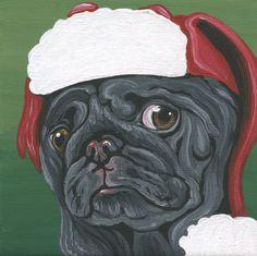 Christmas Pug Santa Art Original Canvas Magnet Miniature Painting- Carla Smale #Miniature