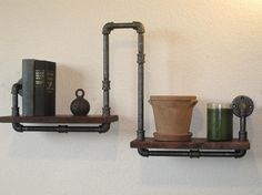 """Industrial Plumbing Pipe Shelf - The Walnut Scale - made out of 1/2"""" pipe. Materials: metal, black metal pipe, plumbing pipe, black pipe, pipe, black plumbing pipe."""