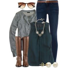 Love the jewel toned blouse, grey cardigan, dark jeans, and jewelry. This outfit is spot on!