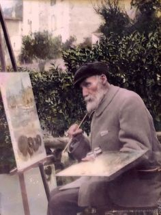 "painters-in-color: ""Auguste Renoir painting outdoors in Cagnes-sur-Mer, ca. 1913 "" Anniversary It's Renoir day again. Let's remember his birthday: February 25, 1841."