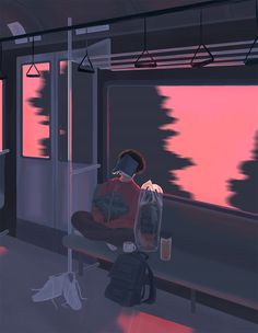 train scene sunset boy digital art graphic design aesthetic drawing photoshop modern anime style asian japanese chinese ethereal g e o r g i a n a : a r t Arte 8 Bits, Character Illustration, Illustration Art, 8bit Art, Anime Scenery Wallpaper, Mood Wallpaper, Aesthetic Gif, Night Aesthetic, Aesthetic Drawing