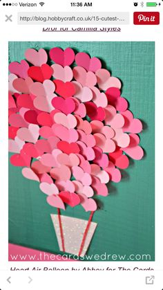 Paint Swatch Heart Air Balloon Nursery Art - Valentine activities: Idea: give each of your students 3 paper hearts and have them finish a writin - Valentine's Day Crafts For Kids, Valentine Crafts For Kids, Valentines Day Decorations, Be My Valentine, Hobbies And Crafts, Holiday Crafts, Valentines Day Decor Classroom, Walmart Valentines, Valentines Day Bulletin Board