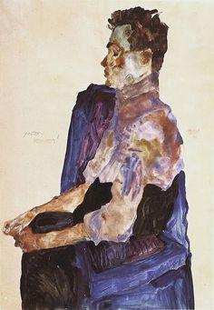 Egon Schiele (1890-1918), Portrait of Anton Peschka (1911), pencil and gouache on paper, 30 x 45 cm. Collection of Leopold Museum, Vienna, Austria. Via Wikimedia Commons.