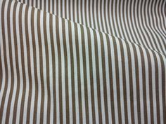 """Mocha brown and white stripe, fat quarter, pure cotton fabric.  The stripe is 1/8 (or 0.3 cm) wide.  22"""" wide x 18"""" (or 56 cm wide x 46 cm) 100%"""