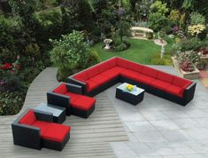 Shop Ohana Outdoor Patio Furniture Sectional Conversation Set, Black Wicker with Beige Cushions - No Assembly with Free Patio Cover Wicker Patio Furniture Sets, Sectional Patio Furniture, Wicker Dining Set, Garden Furniture, Dining Sets, Sectional Sofas, Furniture Storage, Outdoor Rocking Chairs, Couch Set
