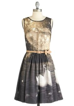 Swan in a Million Dress by Eva Franco - Brown, Tan, Pink, Brown, Tan / Cream, Print with Animals, Bows, Pleats, A-line, Sleeveless, Party, Statement, Mid-length, Prom, Wedding