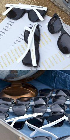 335f0f61b84 Summer Wedding Idea - Give your guests personalized sunglasses to wear as  they arrive to your
