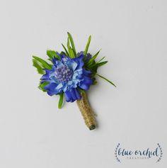 Blue Boutonniere, Silk Boutonniere, Boutonniere, Groom, Groomsmen, Wedding Flowers, Wedding Boutonniere, Button Hole, Wedding Button Hole by blueorchidcreations on Etsy