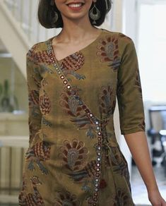 Best 12 Beautiful detailing with mirror work Salwar Neck Designs, Churidar Designs, Neck Designs For Suits, Kurta Neck Design, Kurta Designs Women, Dress Neck Designs, Blouse Designs, Salwar Pattern, Kurta Patterns
