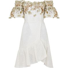 Razan Alazzouni Embellished Off The Shoulder Wrap Dress (€1.725) ❤ liked on Polyvore featuring dresses, neutral, embellished cocktail dresses, wrap dress, wrap cocktail dress, embellished dresses and white dress