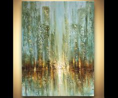 """ORIGINAL City Acrylic  Painting Modern Palette Knife Abstract Painting by Osnat enormous 48"""" x 36"""" ready to hang on Etsy, $3,000.00"""