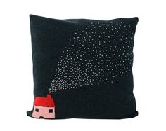 Decorative Pillow - Little House - soft knitted pillow - 18x18, includes insert