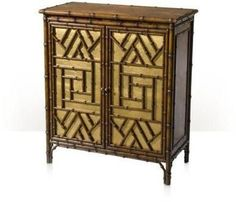 A Chinoiserie faux bamboo carved side cabinet, the rectangular top above two cabinet doors with gilt argent backing enclosing an adjustable shelf. The original century Chinese. Bamboo Cabinets, Theodore Alexander, Oriental Furniture, Bookcase Storage, Indochine, Faux Bamboo, Indoor Outdoor Rugs, Architectural Elements, Modern Rugs