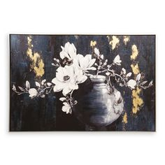 With its simple, darks and bold colouration, this framed painted magnolia in pot adds a touch of style anda striking beauty to the contemporary home. Magnolia, Tapestry, Contemporary, Frame, Lounge, Painting, Home Decor, Art, Hanging Tapestry