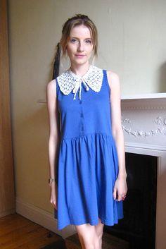 Crochet Collar, Blue Dress