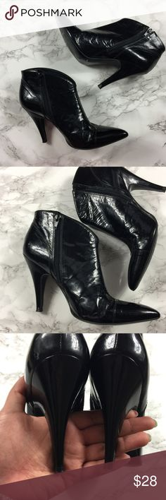 """BCBGirls Black Ankle Booties • Stunning • Sz 8.5 Pre-owned, BCBGirls black patent leather ankle booties. Size 8 , cap toe, ankle booties with curved opening.  In used condition with some cosmetic wear. Side zip. Heel height: 3 3/4"""" , Patent leather upper/synthetic lining and sole. BCBGirls Shoes Ankle Boots & Booties"""