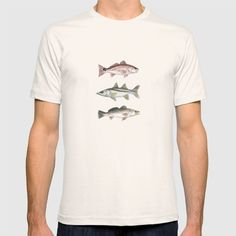 Inshore Slam! ~ Watercolor Redfish, Snook, and Trout T-shirt  ••• AmberMarineArt.com •••