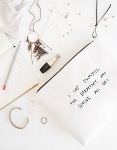 funny large makeup bag // clutch purse with inspirational quote // white pouch