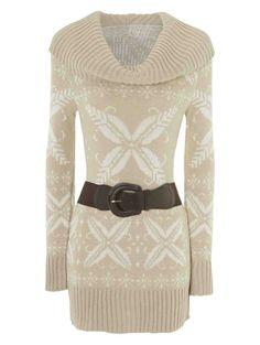 04b282f5d40cd Cowl Neck Fairisle Jumper Dress