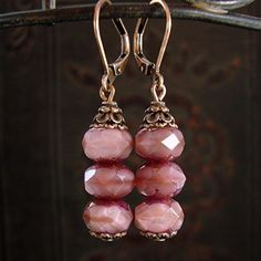 Dusty Rose Pink Artisan Czech Glass Stacked Rondelle Bead Leverback Earrings in Antiqued Copper